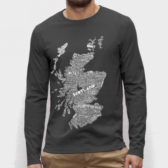large hand drawn Scotland map print long sleeved t-shirt by Gillian Kyle