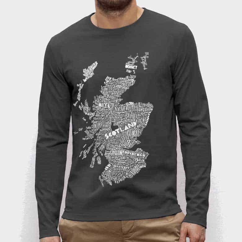 6b33058ec145e large hand drawn Scotland map print long sleeved t-shirt by Gillian Kyle · Gillian  Kyle