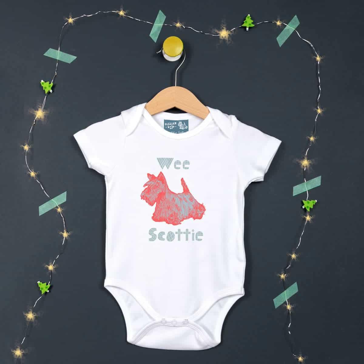 Gillian Kyle, Scottish Baby clothing, Scottish baby gift, organic cotton, quirky Scottish terrier print