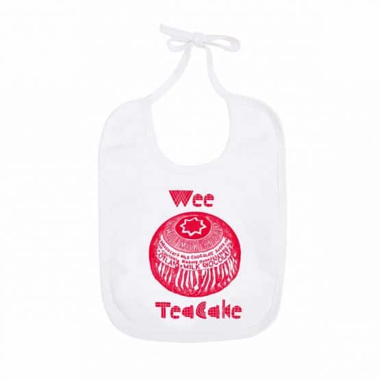 Gillian Kyle, Scottish baby clothing, Scottish baby gifts, Scottish baby bib, Scottish Tunnock's teacake design