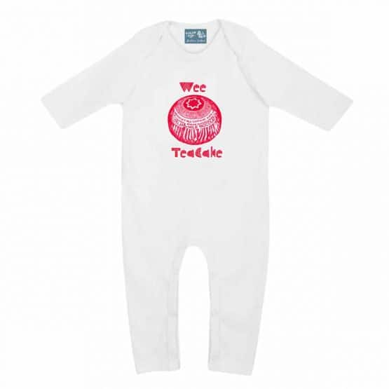 Gillian Kyle, Scottish baby clothing, Scottish baby gift, organic cotton, baby romper sleepsuit, Scottish quirky teacake design
