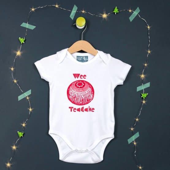 Gillian Kyle, Scottish baby clothing, Scottish baby gifts, Scottish baby bib, Scottish Tunnock's teacake design