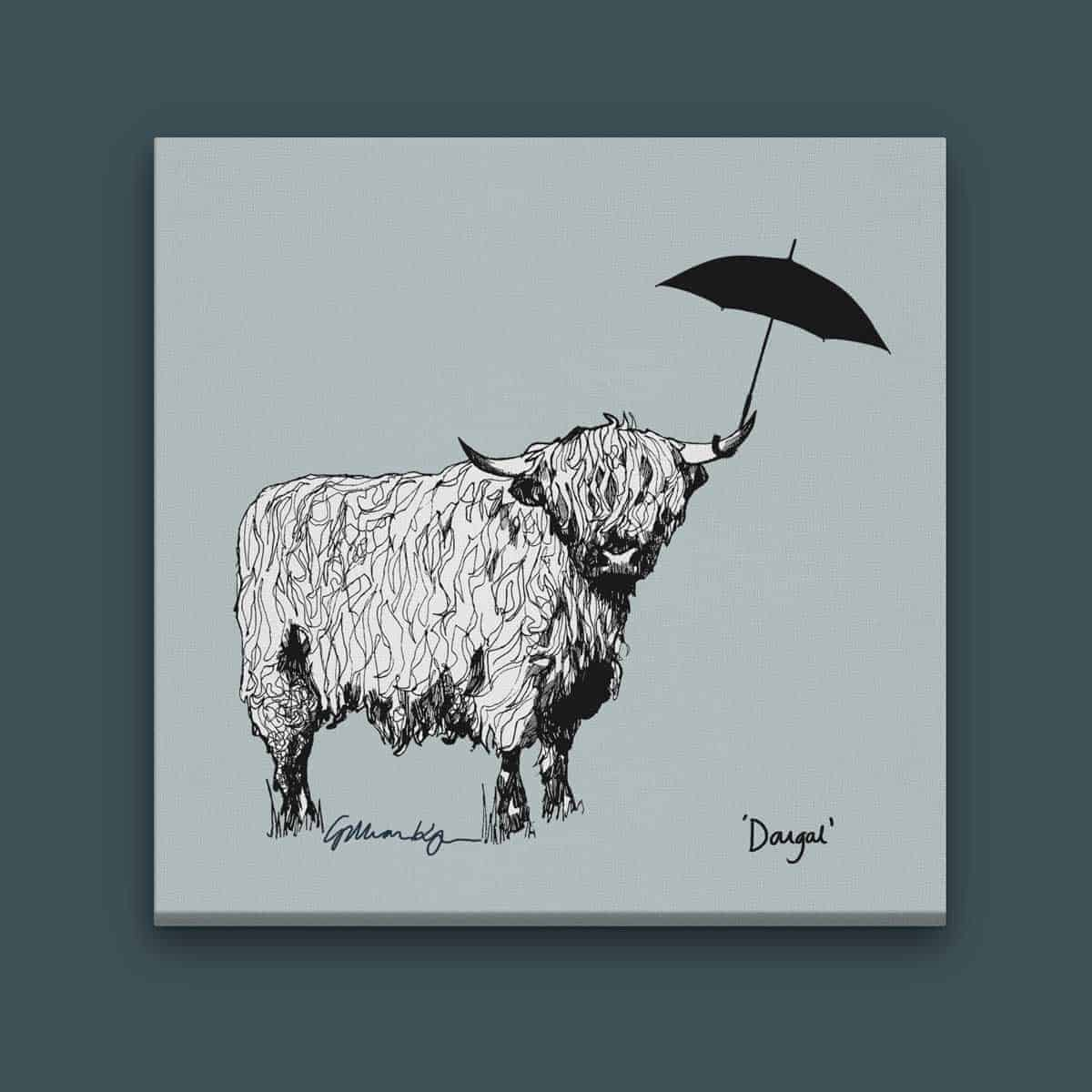Gillian Kyle Scottish Art Canvases Prints Love Scotland Dougal Highland Cow  Square Canvas Print