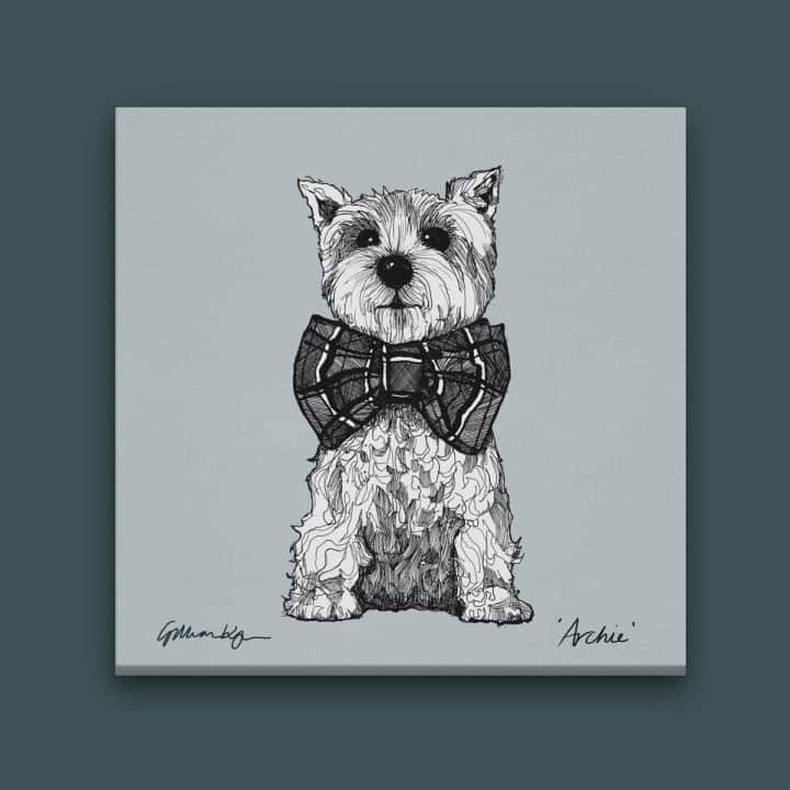 gillian kyle scottish art prints and canvases, love scotland range, archie square canvas with west highland terrier