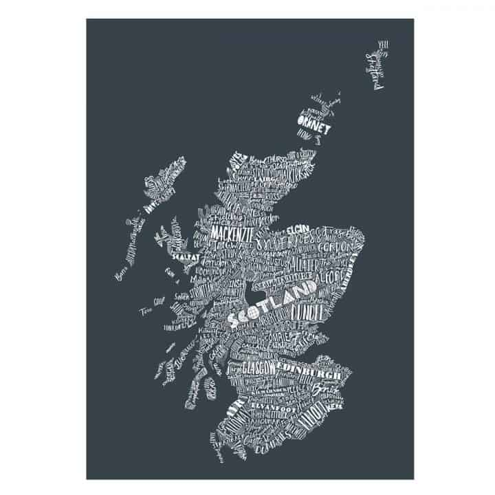 Gillian Kyle Scottish Art and Prints, Mapped Out Illustrated Scottish Map print in charcoal