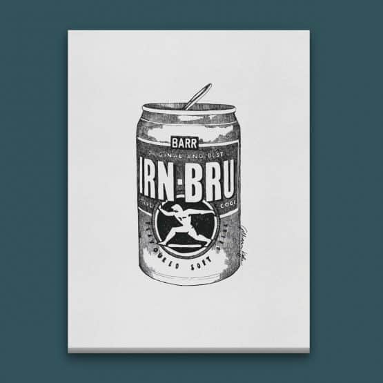 Gillian Kyle Scottish Canvas Print Art Gallery, Scottish Food, Barr's Irn-Bru Canvas in monochrome