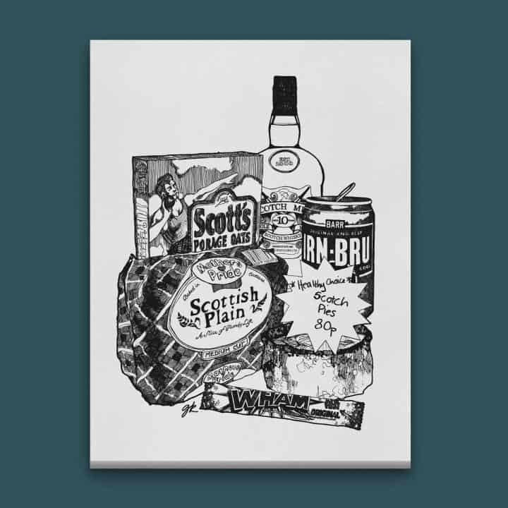 Gillian Kyle Scottish Canvas Print Art Gallery, Scottish Food, Scottish Breakfast Canvas in monochrome with Irn-Bru, Porridge oats, plain loaf and scotch pie