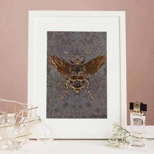 Flights of Fancy Scottish Wildlife Prints by Gillian Kyle, Dark Floral Bee Foil Print