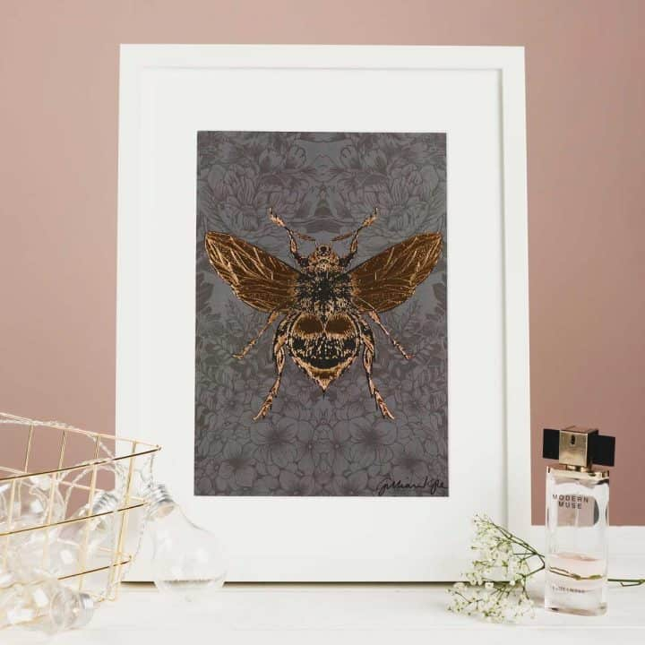 Flights of Fancy Scottish Wildlife Prints by Gillian Kyle, Dark Floral Bee Foil Print