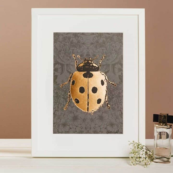 Flights of Fancy Scottish Wildlife Prints by Gillian Kyle, Dark Floral Ladybird Foil Print