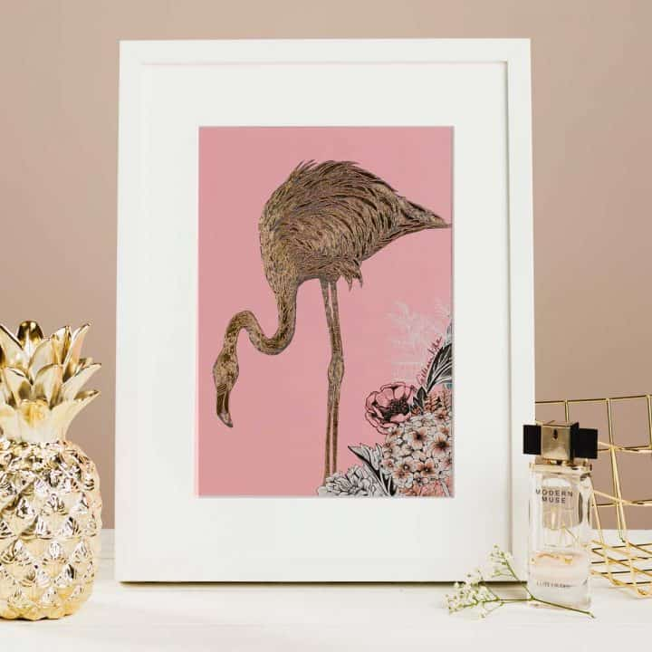 Flights of Fancy Scottish Wildlife Prints by Gillian Kyle, Flamingo Floral Foil Print