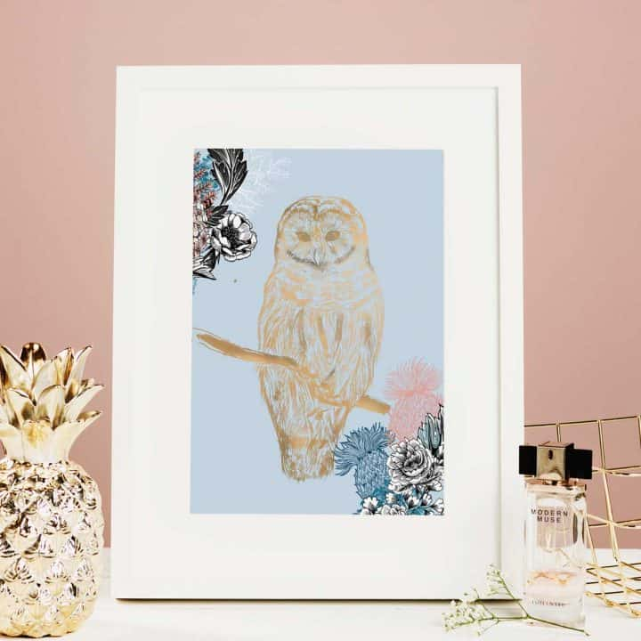 Flights of Fancy Scottish Wildlife Prints by Gillian Kyle, Ornate Owl Foil Print