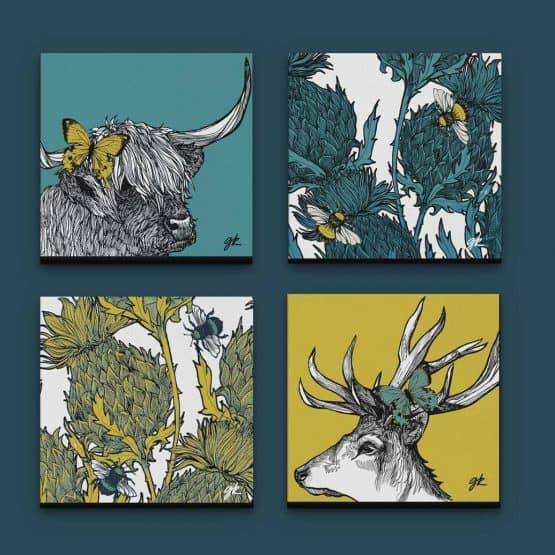 set of 4 Scottish wildlife prints within thistles, stag and highland cow plus butterflies and bees