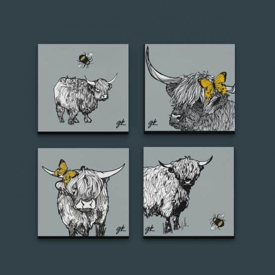 Gillian Kyle Scottish Canvas print Art Gallery, Scottish Animals collection, highland cow canvas print collection with highland cattle and highland calf
