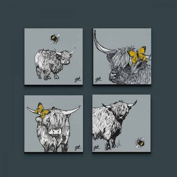 Gillian Kyle Scottish Canvas print Art Gallery, Scottish Animals collection, highland cow canvas print collection with highland cattle and highland calf