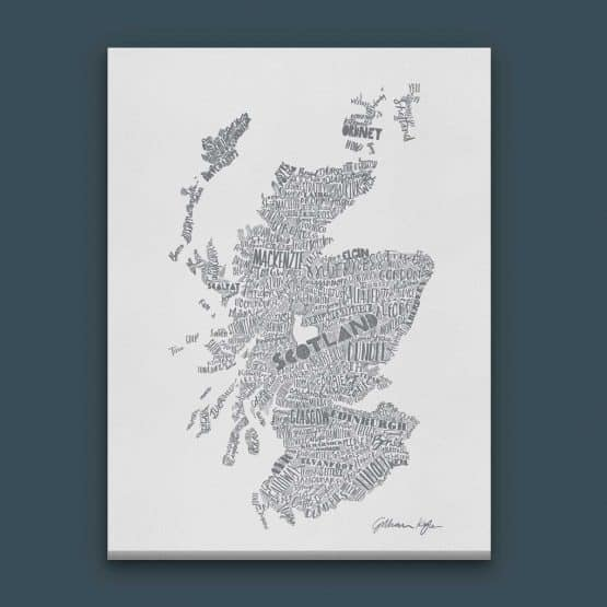Gillian Kyle Scottish canvas Print Art Gallery Mapped Out Illustrated typographic Scotland Map Print in soft grey