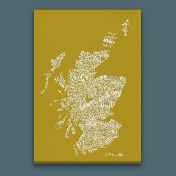 Gillian Kyle Scottish canvas Print Art Gallery Mapped Out Illustrated typographic Scotland Map Print in ochre