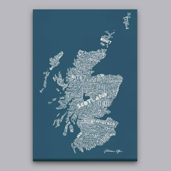 Gillian Kyle Scottish canvas Print Art Gallery Mapped Out Illustrated typographic Scotland Map Print in petrol blue