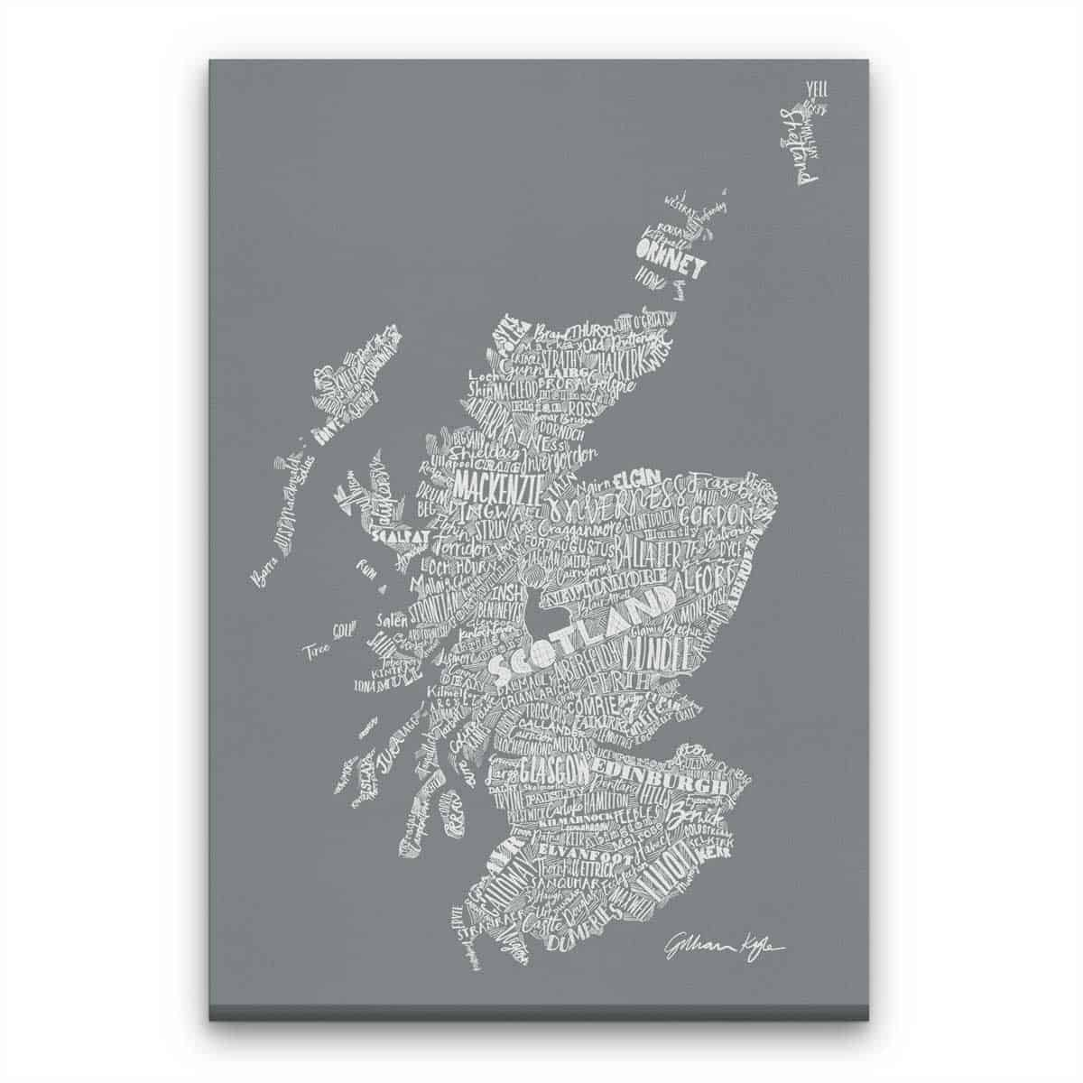 Gillian Kyle Scottish canvas Print Art Gallery Mapped Out Illustrated typographic Scotland Map Print in modern grey