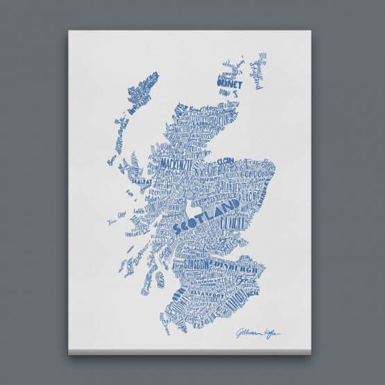 Gillian Kyle Scottish canvas Print Art Gallery Mapped Out Illustrated typographic Scotland Map Print in sky blue