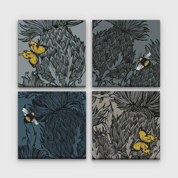 Gillian Kyle Scottish Canvas print Art Gallery, Scottish Wildlife Collection, Black Thistles Canvas Collection in greys with Scottish Thistles and bees