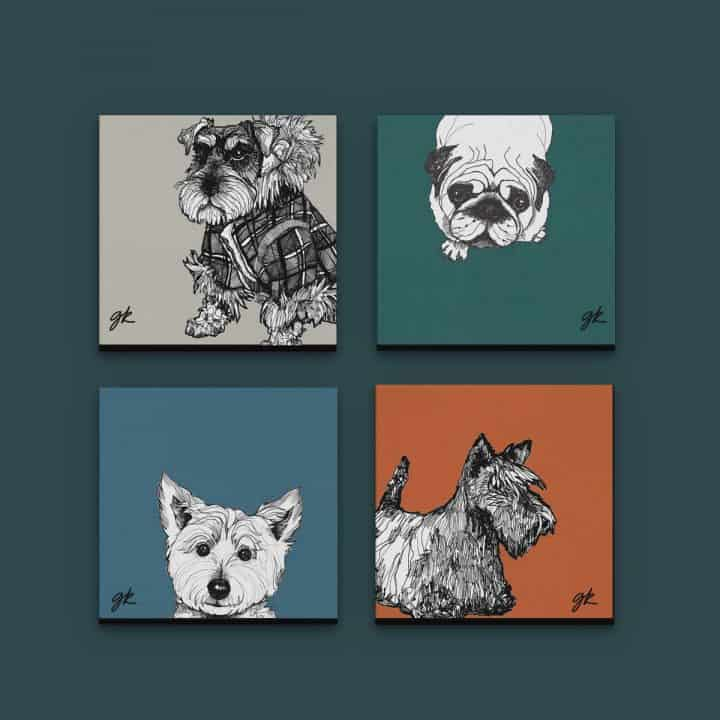 Gillian Kyle Canvas Prints Art Gallery, Dogs Collection, Wee Dugs Canvas Print Collection in autumnal colours with West Highland Terrier, Pug, Scottish Terrier and Miniature Schnauzer
