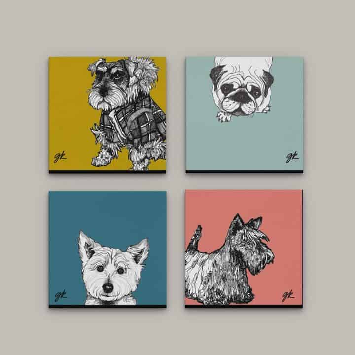 Gillian Kyle Canvas Prints Art Gallery, Dogs Collection, Wee Dugs Canvas Print Collection in soft colours with West Highland Terrier, Pug, Scottish Terrier and Miniature Schnauzer