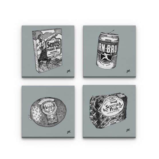 Gillian Kyle Scottish Canvas Prints Art Gallery, Scottish Food Canvas Print Collection in grey, Porridge, Haggis, Irn-Bru, Mothers Pride