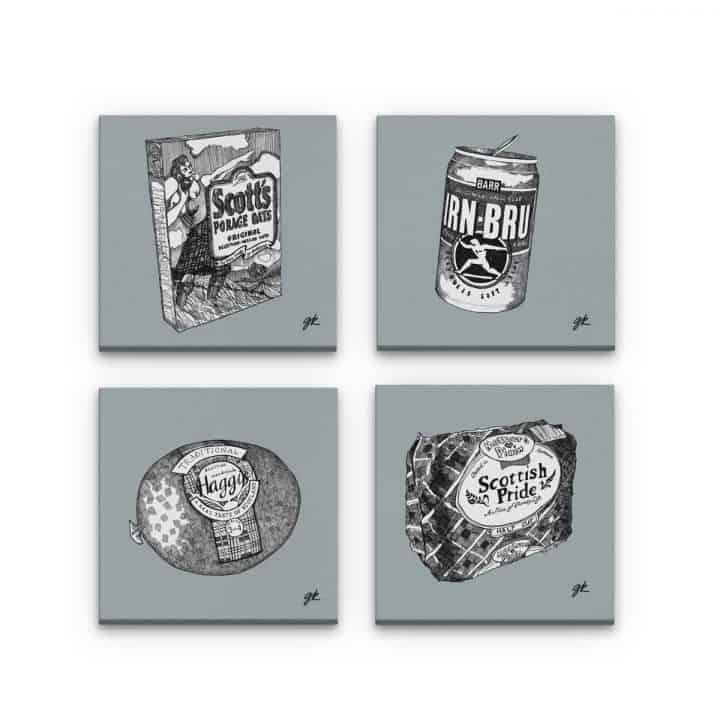 Gillian Kyle Scottish Canvas Prints Art Gallery, Scottish Food Canvas Print Collection in grey, Porridge, Haggis, Irn-Bru, Mothers Pride
