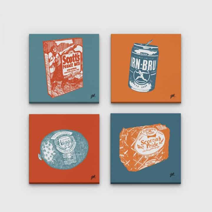 Gillian Kyle Scottish Canvas Prints Art Gallery, Scottish Food Canvas Print Collection in orange and teal, Porridge, Haggis, Irn-Bru, Mothers Pride