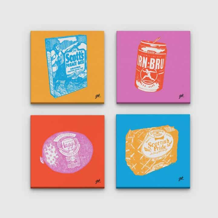 Gillian Kyle Scottish Canvas Prints Art Gallery, Scottish Food Canvas Print Collection in pop art colours, Porridge, Haggis, Irn-Bru, Mothers Pride