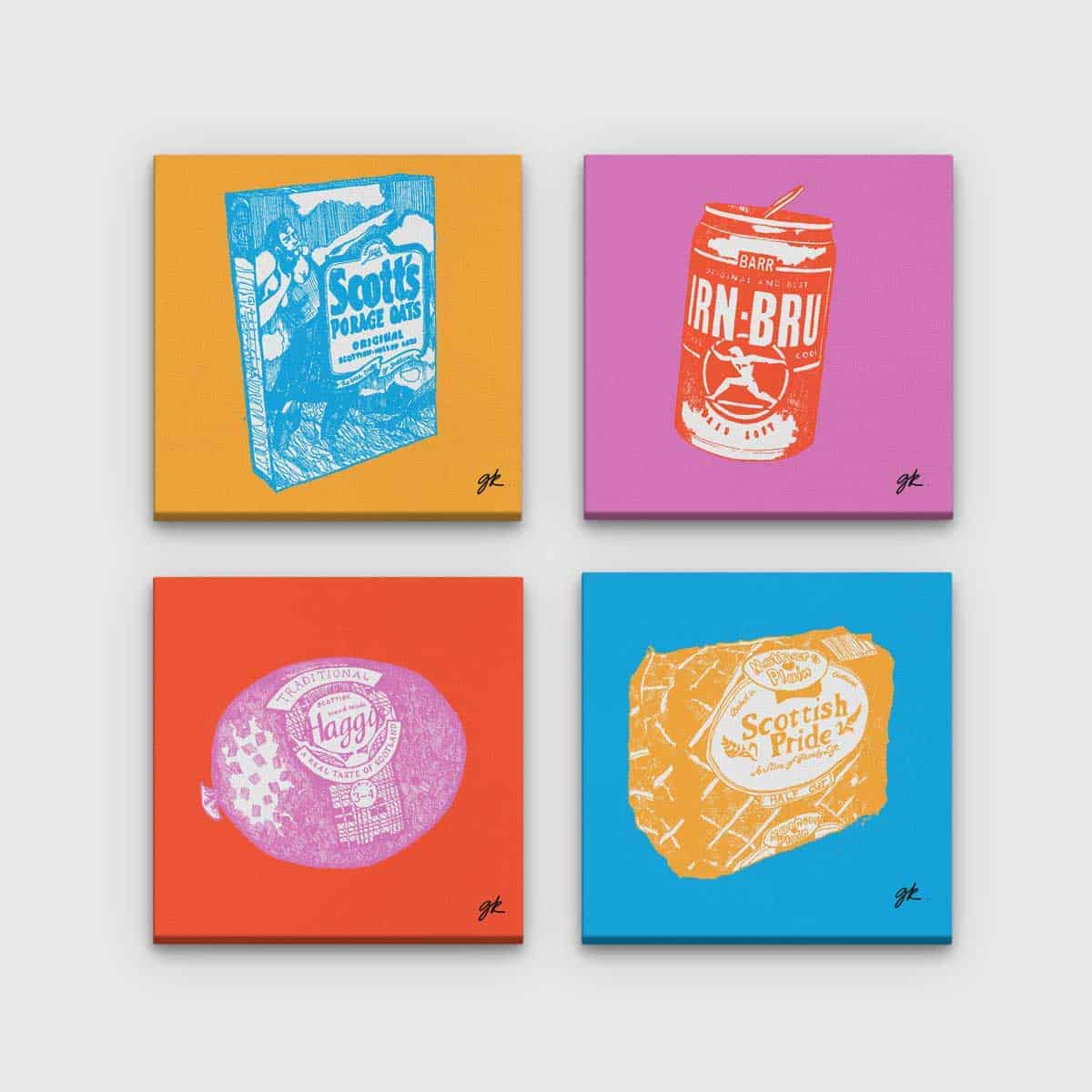 Gillian Kyle Scottish Canvas Prints Art Gallery, Scottish Food Canvas Print Collection in pop art colours, Porridge, Haggis, Irn-Bru, Mothers Pride
