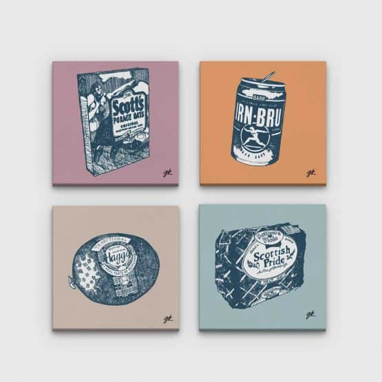 Gillian Kyle Scottish Canvas Prints Art Gallery, Scottish Food Canvas Print Collection in soft neutral colours, Porridge, Haggis, Irn-Bru, Mothers Pride