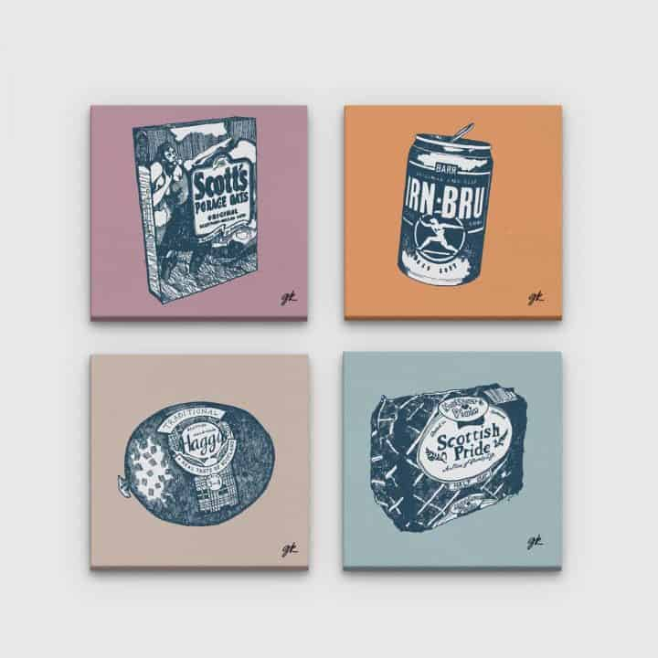 Gillian Kyle Scottish Canvas Prints Art Gallery, Scottish Food Canvas Print Collection in soft neutral colours, Porridge, Haggis, Irn-Bru, Mothers Pride