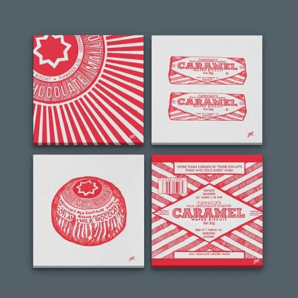 Tunnock's canvas collection by gillian Kyle featuring Tunnock's teacake and Tunnock's Caramel wafer prints