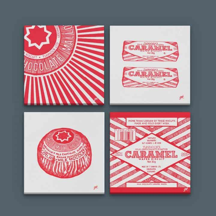 Tunnock's canvas collection by gillian Kyle featuring Tunnock's teacake and Tunnock's Caramel wafer prints