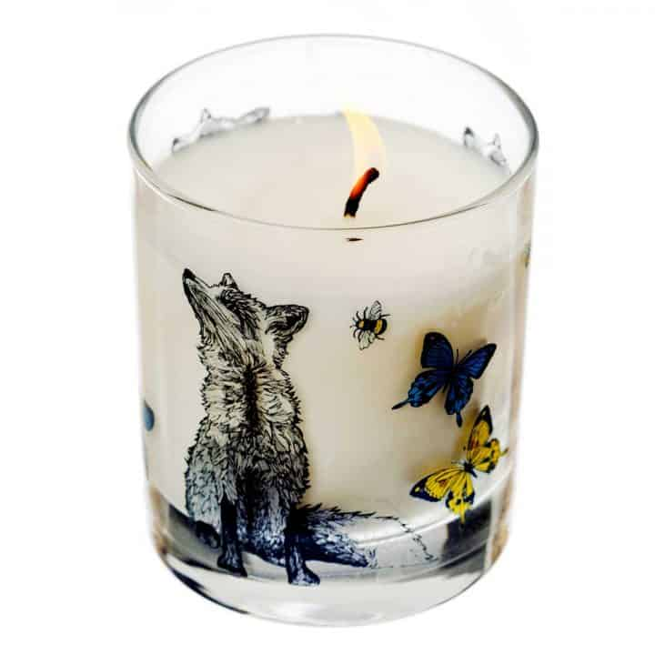 Gillian Kyle Scottish Home Range, Scottish Wildlife, Butterflies and Beasts Candle with fox, butterflies, bees