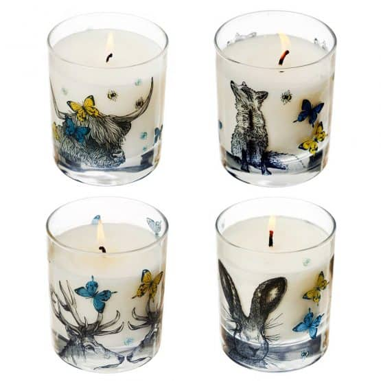 Gillian Kyle Scottish Home Range, Scottish Wildlife, Butterflies and Beasts Candle Collection with hare, fox, stag, deer, highland cow, butterflies, bees