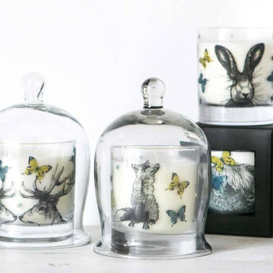 Gillian Kyle Scottish Home Range, Scottish Wildlife, Butterflies and Beasts Candle Collection with hare, fox, stag, deer, highland cow, butterflies and bees