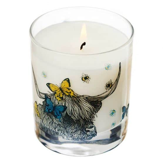Gillian Kyle Scottish Home Range, Scottish Wildlife, Butterflies and Beasts Candle with highland cow, butterflies, bees