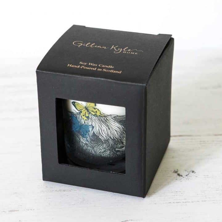 Gillian Kyle Scottish Home Range, Scottish Wildlife, Butterflies and Beasts Candle in box with highland cow