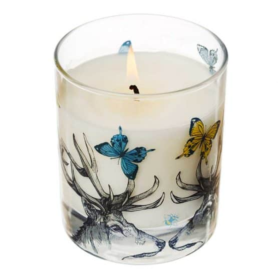 Gillian Kyle Scottish Home Range, Scottish Wildlife, Butterflies and Beasts Candle with stag, deer, butterflies, bees