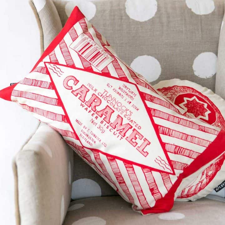 Tunnock's Teacake and Caramel Wafer Cushion Collection by Gillian Kyle