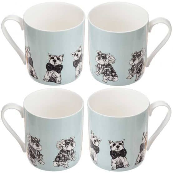 Gillian Kyle Scottish mugs and cups, Love Scotland Range, Archie and Hamish Mug Collection with west highland terrier, miniature schnauzer