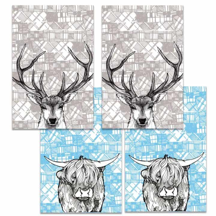 Gillian Kyle Scottish Tea Towels Tartan Animals Tea Towel collection with Tartan Stag and Tartan Coo highland cow