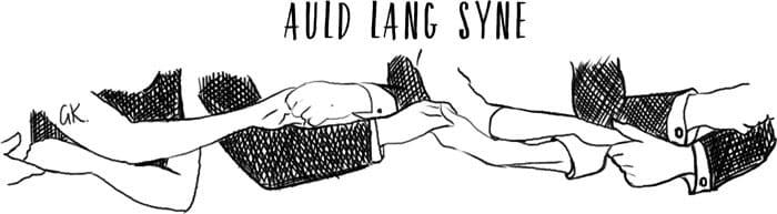 Robert burns auld lang syne linked arms illustration by gillian Kyle