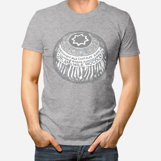 Mens T-shirt with Tunnock's Teacake print in black and greys by Gillian Kyle - perfect Valentines gift for a man