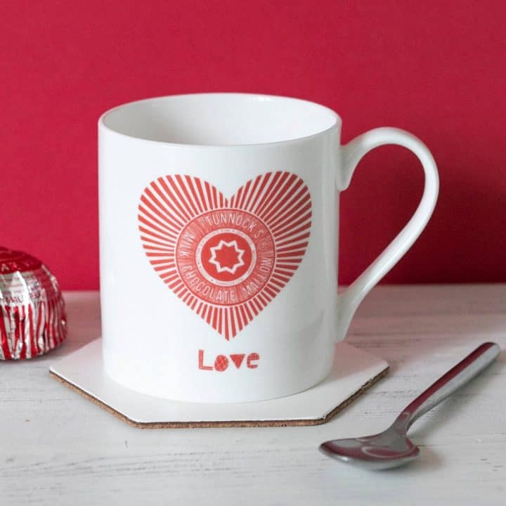 Love Tunnock's find china mug with red Tunnock's Teacake Wrapper heart by Gillian Kyle