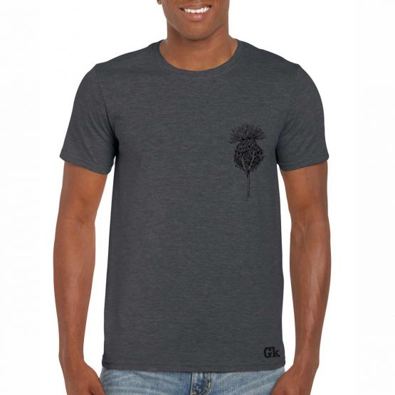 Scottish Thistle Men's T-shirt in charcoal by Gillian Kyle