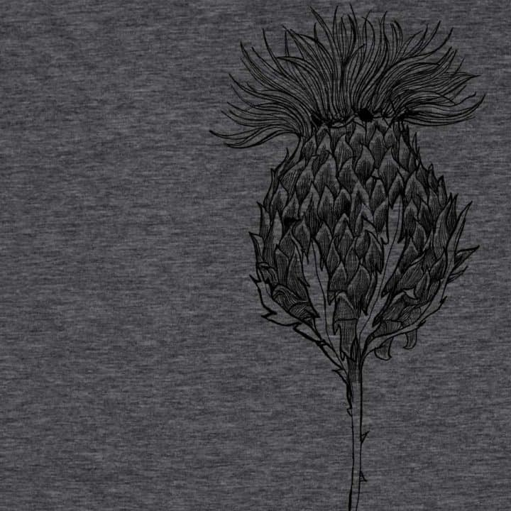 Flower of Scotland Scottish thistle t-shirt for men in charcoal by Gillian Kyle